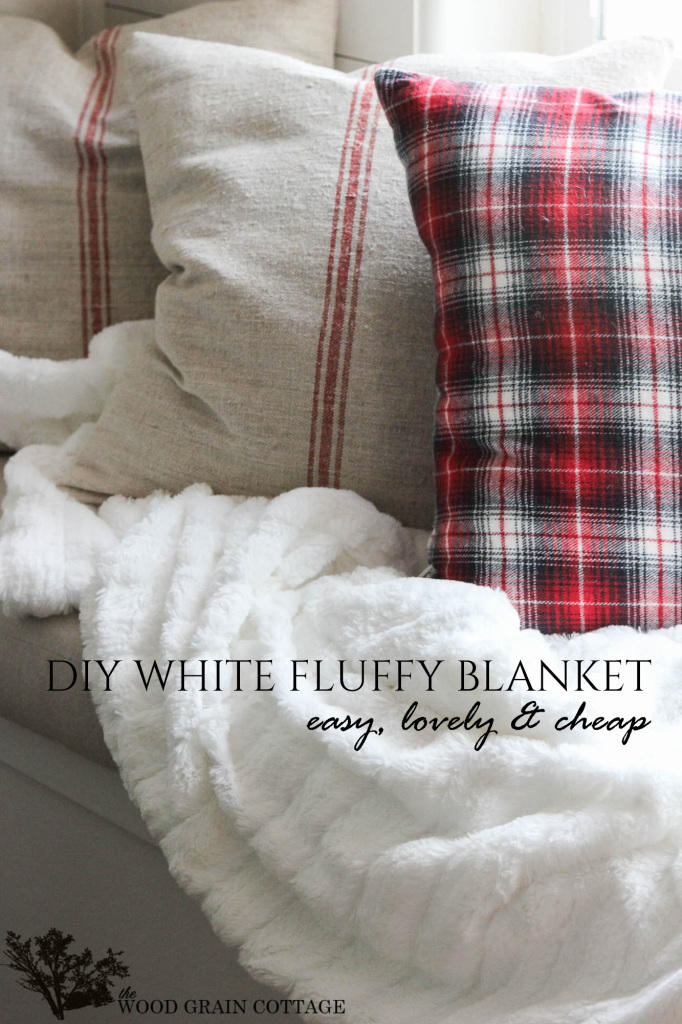 DIY White Fluufy Blanket- Farmhouse Style! by The Wood Grain Cottage-13 copy